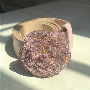 Swarovski Crystal Rose Leather Belt